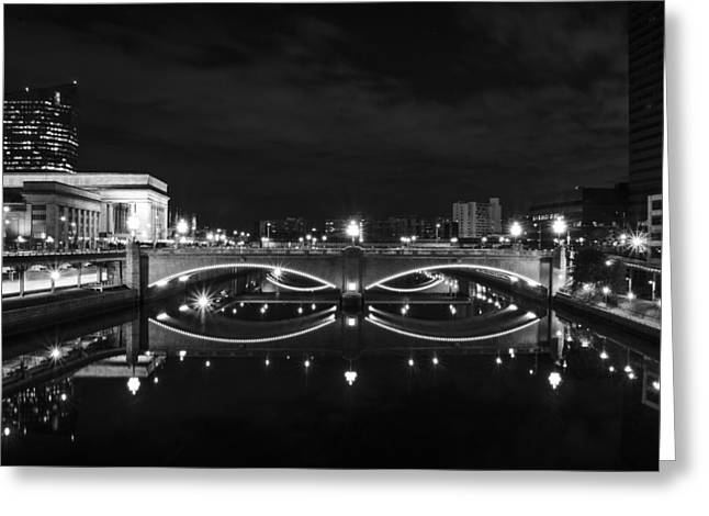 Schuylkill Digital Art Greeting Cards - Schuylkill River at Night in Black and White Greeting Card by Bill Cannon