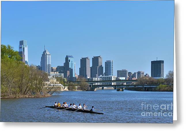 Schuylkill River Skulling Phila PA Skyline Greeting Card by David  Zanzinger