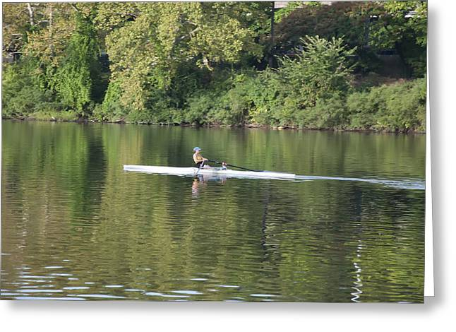 Schuylkill Digital Art Greeting Cards - Schuylkill Rower Greeting Card by Bill Cannon