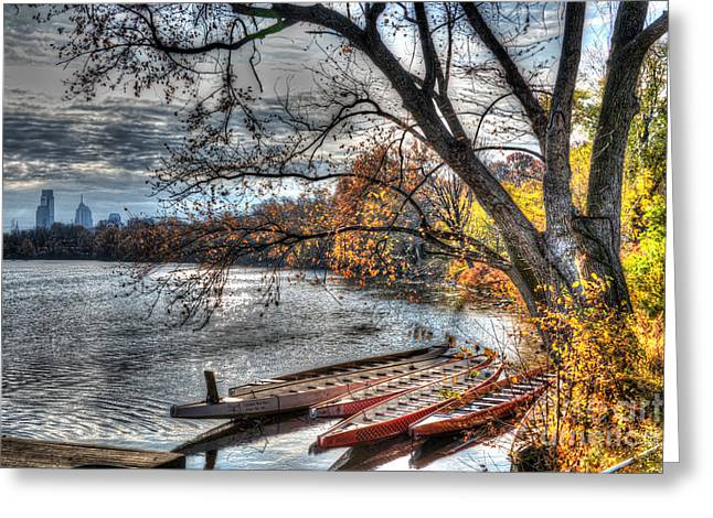 Williams Dam Greeting Cards - Schuylkill Skyline Greeting Card by Mark Ayzenberg