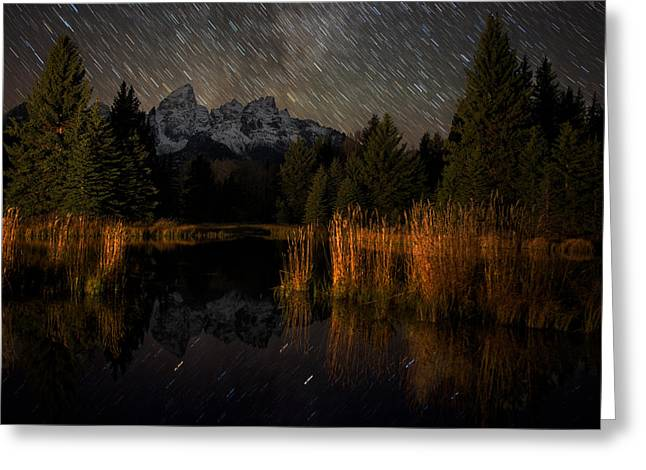 Night Photography Workshop Greeting Cards - Schwabacher Starry Night Greeting Card by Mike Berenson