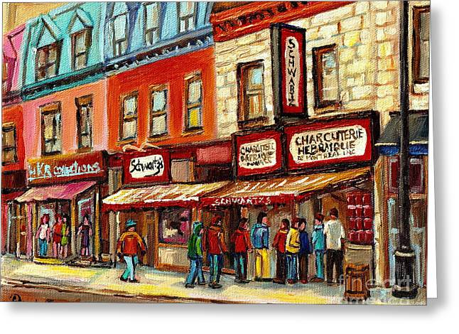 Montreal Restaurants Greeting Cards - Schwartz The Musical Painting By Carole Spandau Montreal Streetscene Artist Greeting Card by Carole Spandau