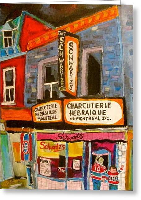 Montreal Icon Greeting Cards - Schwartzs and Hockey Greeting Card by Michael Litvack