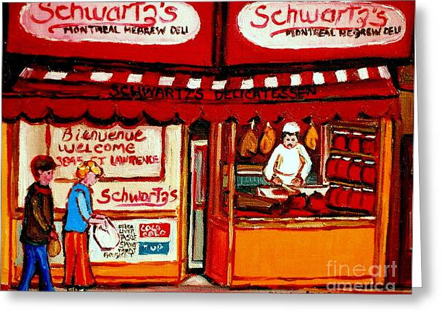 The Main Montreal Greeting Cards - Schwartzs  Deli  Montreal Landmarks Greeting Card by Carole Spandau
