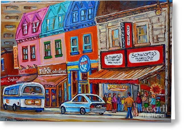 Plateau Montreal Paintings Greeting Cards - Schwartzs Deli Restaurant Montreal Smoked Meat Plateau Mont Royal Streetscene Carole Spandau Greeting Card by Carole Spandau