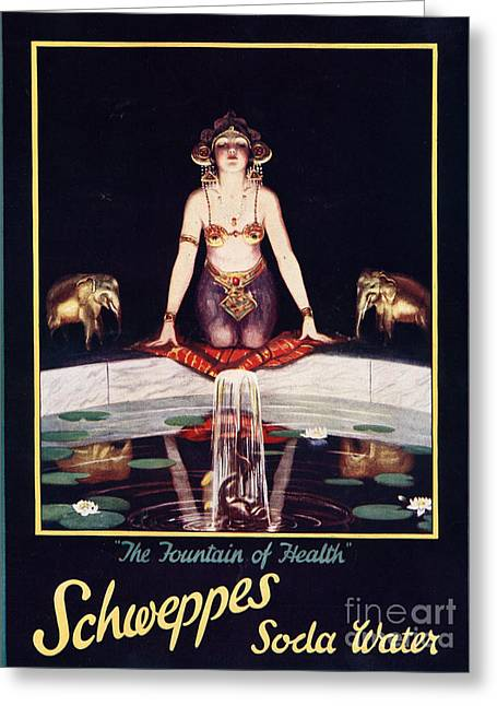 Twentieth Century Drawings Greeting Cards - Schweppes 1920s Uk Soda Water Greeting Card by The Advertising Archives