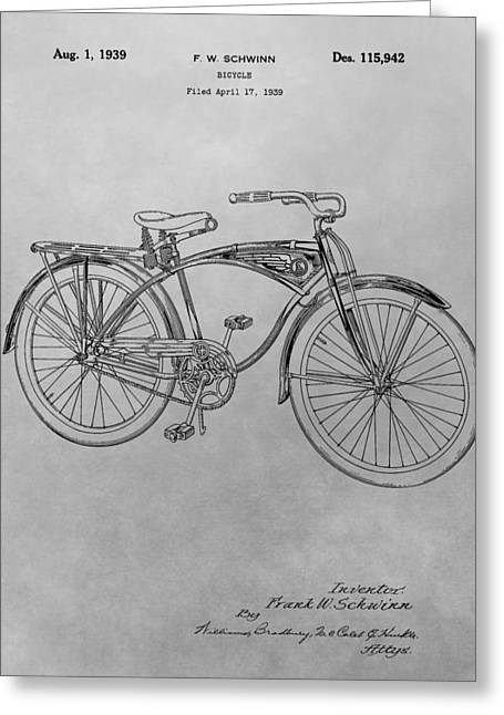 Exercise Drawings Greeting Cards - Schwinn Bicycle Greeting Card by Dan Sproul