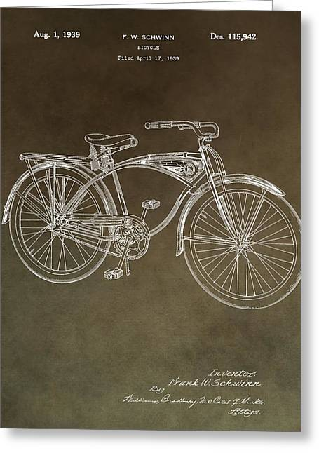 Seated Mixed Media Greeting Cards - Schwinn Bicycle Patent Greeting Card by Dan Sproul