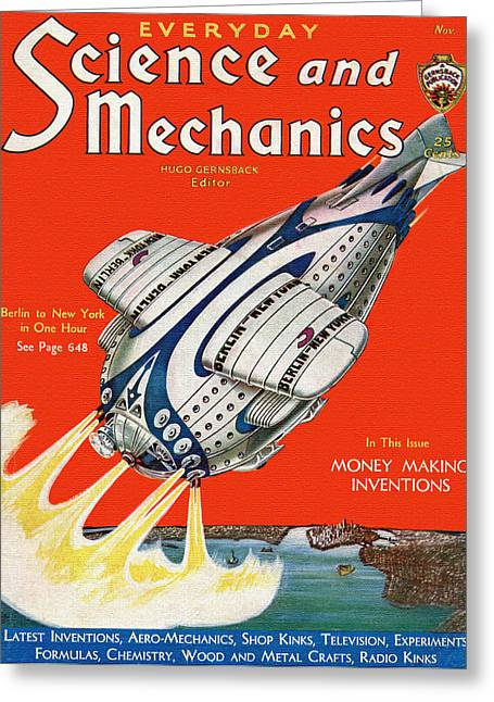 Magazine Cover Mixed Media Greeting Cards - Science and Mechanics Magazine Cover 1931 Greeting Card by Mountain Dreams