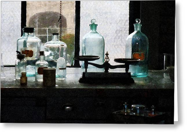 Lab Greeting Cards - Science - Balance and Bottles in Chem Lab Greeting Card by Susan Savad
