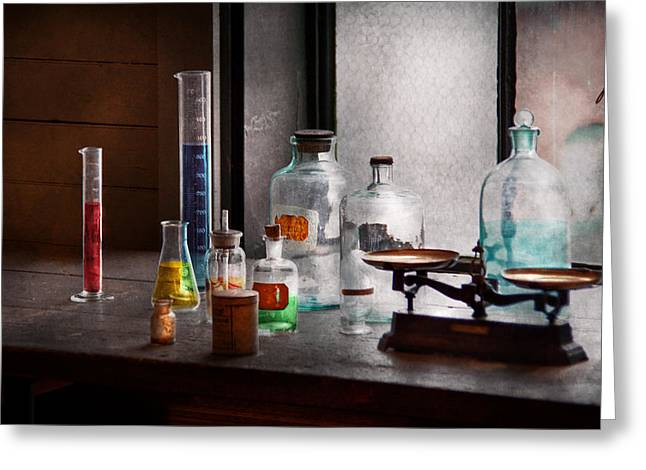 Lessons Greeting Cards - Science - Chemist - Chemistry Equipment  Greeting Card by Mike Savad