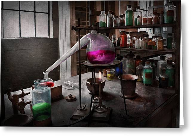 Recently Sold -  - Experiment Greeting Cards - Science - Chemist - Chemistry for Medicine  Greeting Card by Mike Savad