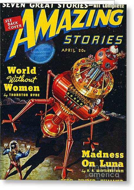 Amazing Stories Greeting Cards - Science Fiction Cover, 1939 Greeting Card by Granger