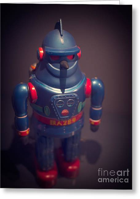 Science Greeting Cards - Science Fiction Vintage Robot Toy Greeting Card by Edward Fielding