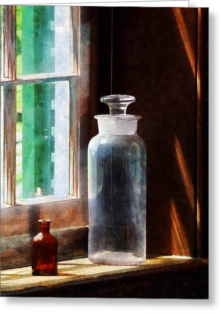 Bottles Greeting Cards - Science - Reagent Bottle and Small Brown Bottle Greeting Card by Susan Savad