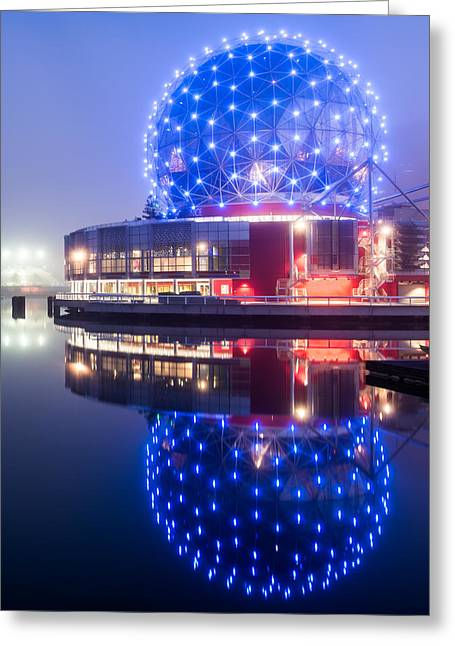 Beautiful Creek Greeting Cards - Science World Reflection Greeting Card by James Wheeler