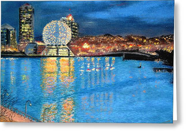 British Columbia Pastels Greeting Cards - Science World Twilight Greeting Card by Brenda Salamone