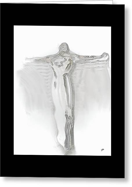 Abstract Digital Greeting Cards - Christ glass By Quim Abella Greeting Card by Joaquin Abella