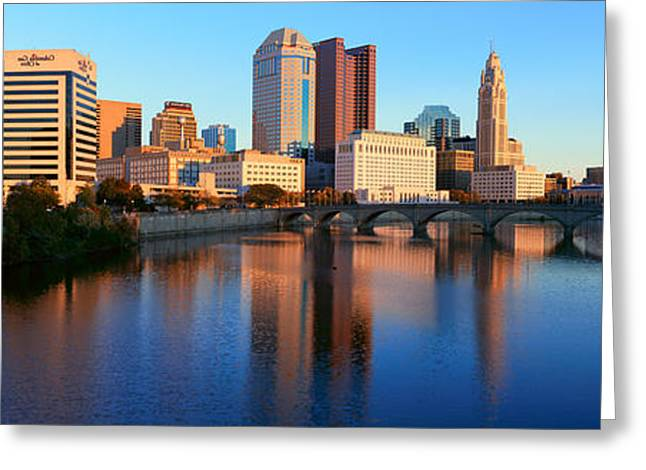 Ohio. Oh Greeting Cards - Scioto River And Columbus Ohio Skyline Greeting Card by Panoramic Images