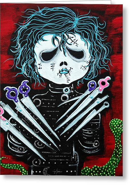 Undead Greeting Cards - Scissorhands Greeting Card by Laura Barbosa