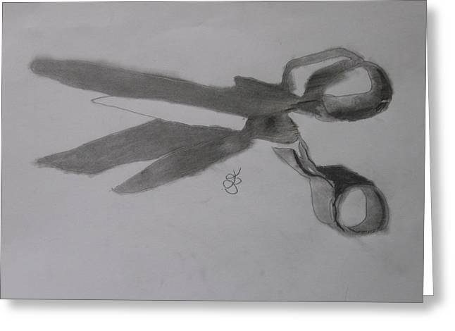 Scissors Drawings Greeting Cards - Scissors Greeting Card by AJ Brown