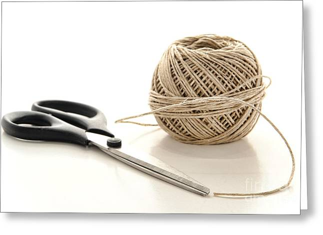 Scissors and Twine Greeting Card by Olivier Le Queinec