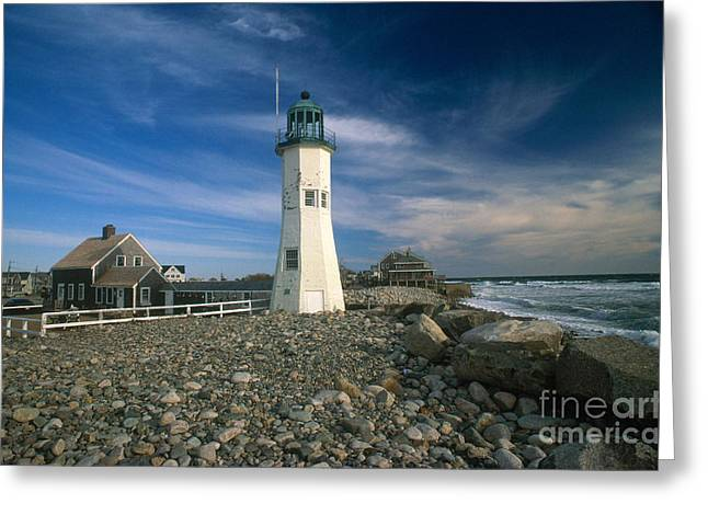 Maine Lighthouses Greeting Cards - Scituate Lighthouse Greeting Card by Bruce Roberts