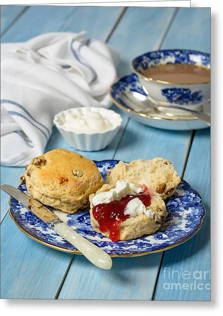 White Cloth Greeting Cards - Scones With Jam And Cream Greeting Card by Amanda And Christopher Elwell