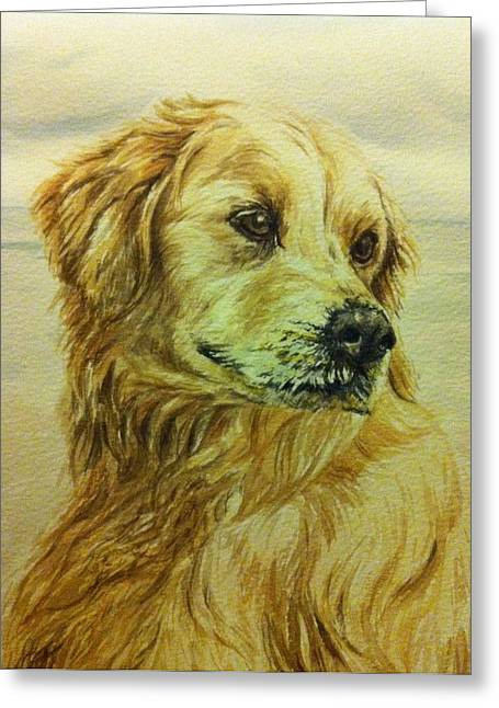 Dog Beach Card Greeting Cards - Scooby the Golden Retriever Greeting Card by Julie Bunt