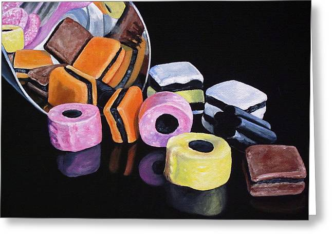 Licorice Paintings Greeting Cards - Scoop of licorice allsorts Greeting Card by Lillian  Bell