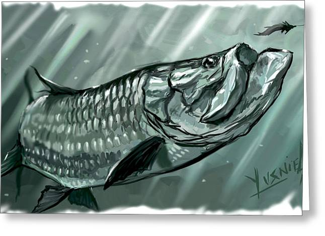 Swordfish Digital Art Greeting Cards - Scooping The Feathers  Greeting Card by Yusniel Santos