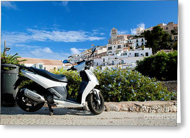 Ibiza Greeting Cards - Scooter and panorama of Ibiza Spain Greeting Card by Michal Bednarek