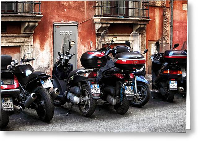 Red Buildings Greeting Cards - Scooter Lights Greeting Card by John Rizzuto