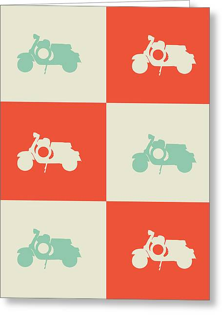 Brainy Greeting Cards - Scooter Poster Greeting Card by Naxart Studio