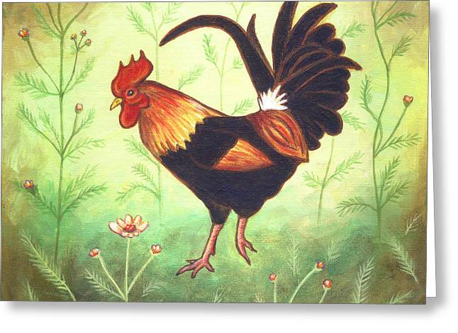 Chicken Greeting Cards - Scooter the Rooster Greeting Card by Linda Mears