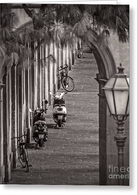 Bicycling Tuscany Greeting Cards - Scooters and Bikes Greeting Card by Prints of Italy