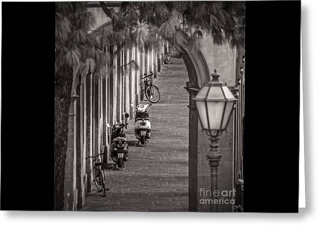 Lucca Greeting Cards - Scooters and Bikes Greeting Card by Prints of Italy