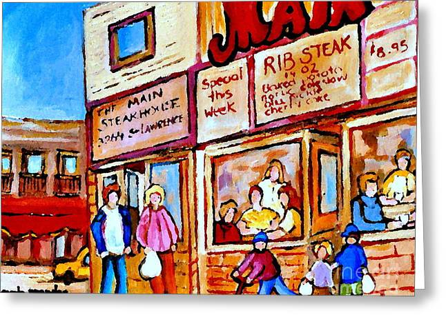 The Main Montreal Greeting Cards - Scooting By The Main Steakhouse Authentic Montreal Paintings Prints Originals Commissions C Spandau Greeting Card by Carole Spandau