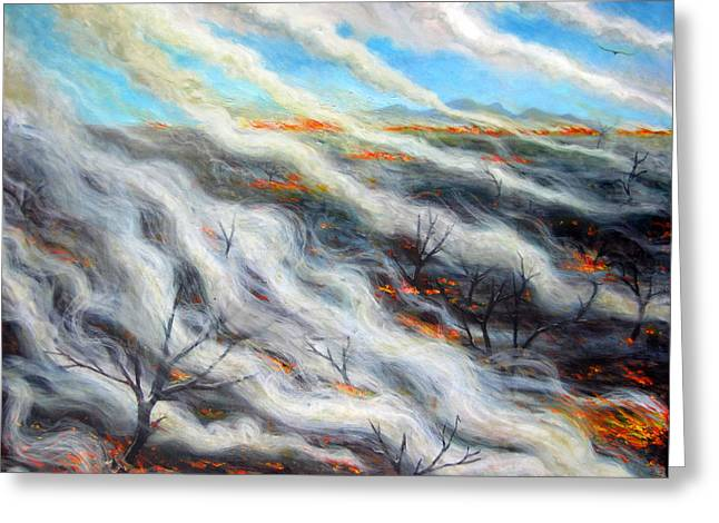 Inferno Greeting Cards - Scorched Earth, 2014, Oil On Canvas Greeting Card by Tilly Willis