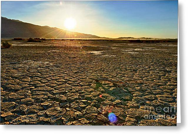 Dry Lake Greeting Cards - Scorched Earth - Clark Dry Lake located in Anza Borrego Desert State Park in California. Greeting Card by Jamie Pham