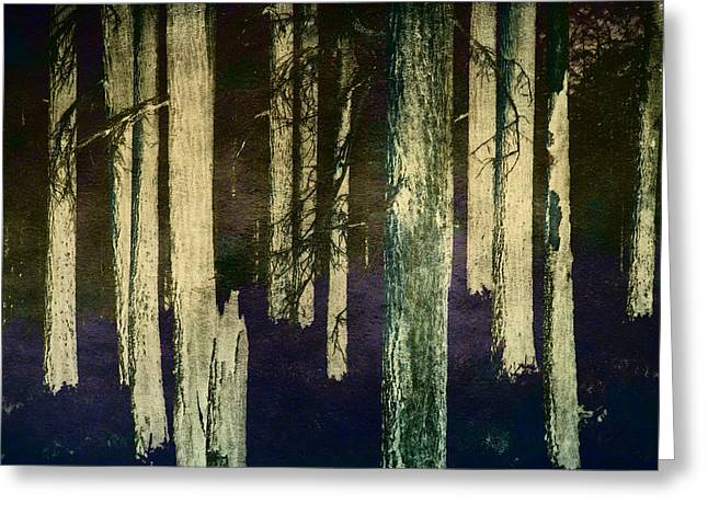 Fire Wood Greeting Cards - Scorched Forest Greeting Card by Bonnie Bruno