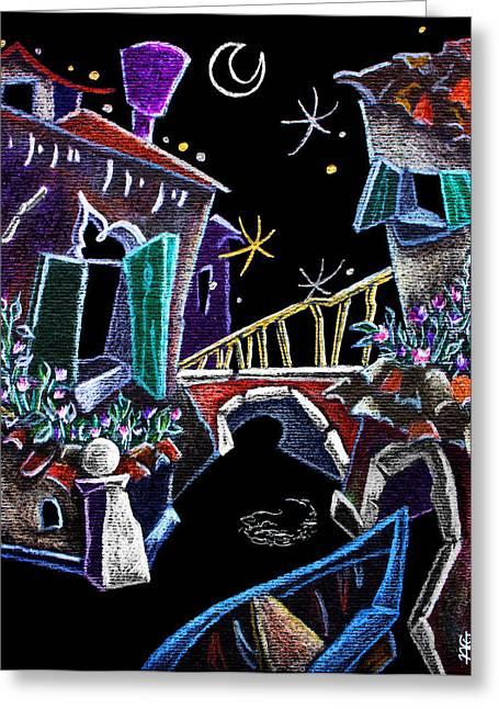 Bridge Pastels Greeting Cards - SCorCio VeNeZiaNo - Venise Art Dessin - Dibujo Canal de Venecia Greeting Card by Arte Venezia