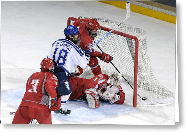 Hockey Net Greeting Cards - Score Greeting Card by Mountain Dreams