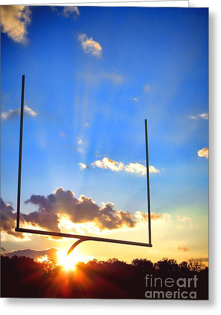 Goalpost Greeting Cards - Score Greeting Card by Olivier Le Queinec