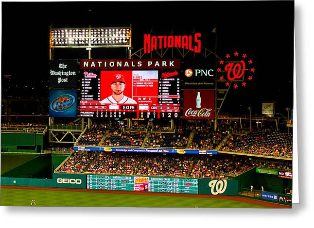 Washington Dc Baseball Greeting Cards - Scoreboard at Nationals Park Greeting Card by Jerry Coli