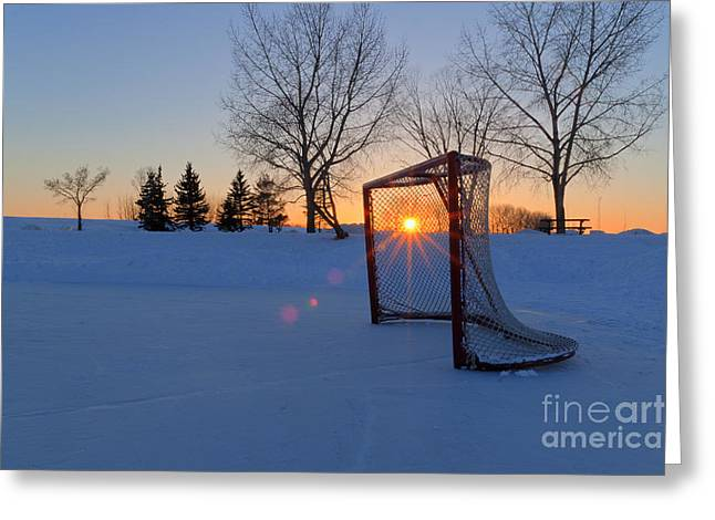 Scoring the Sunset Greeting Card by Darcy Michaelchuk