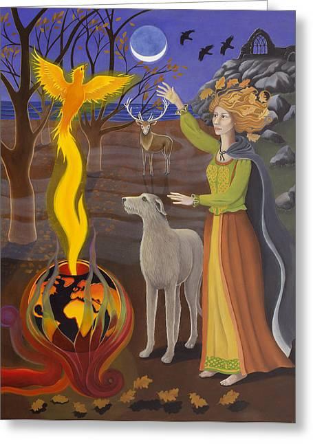 Celtic Paintings Greeting Cards - Scorpio / Morrigan Greeting Card by Karen MacKenzie