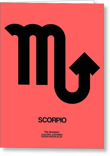 Scorpio Zodiac Sign Black Greeting Card by Naxart Studio