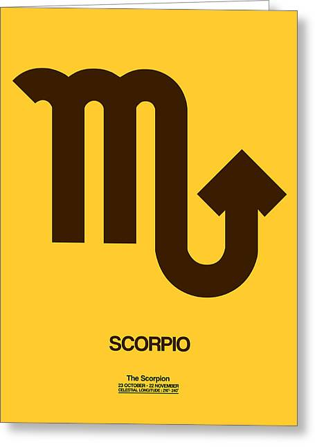 Signed Digital Greeting Cards - Scorpio Zodiac Sign Brown Greeting Card by Naxart Studio