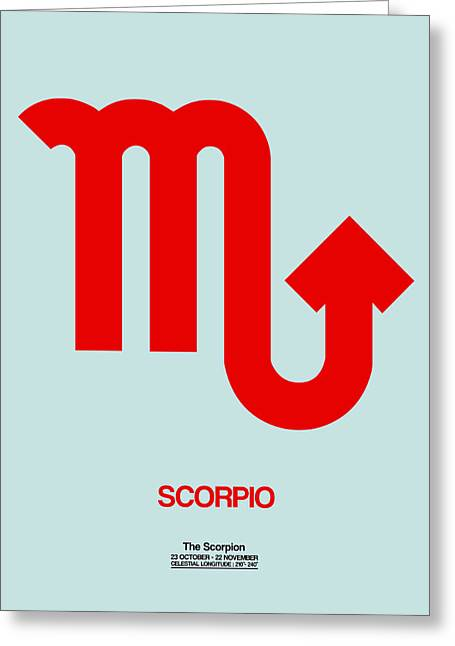 Signed Digital Greeting Cards - Scorpio Zodiac Sign Red Greeting Card by Naxart Studio